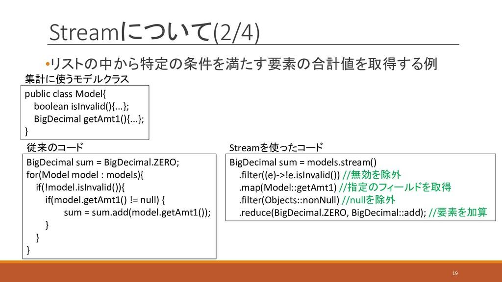 Streamについて(2/4) •リストの中から特定の条件を満たす要素の合計値を取得する例 B...