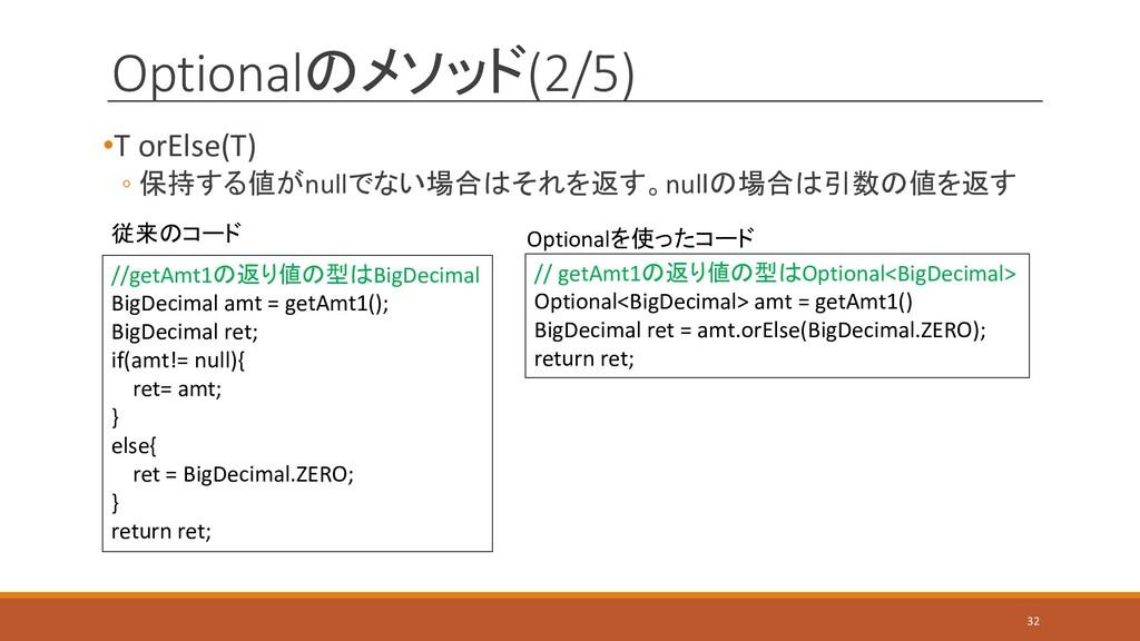 Optionalのメソッド(2/5) •T orElse(T) ◦ 保持する値がnullでない...