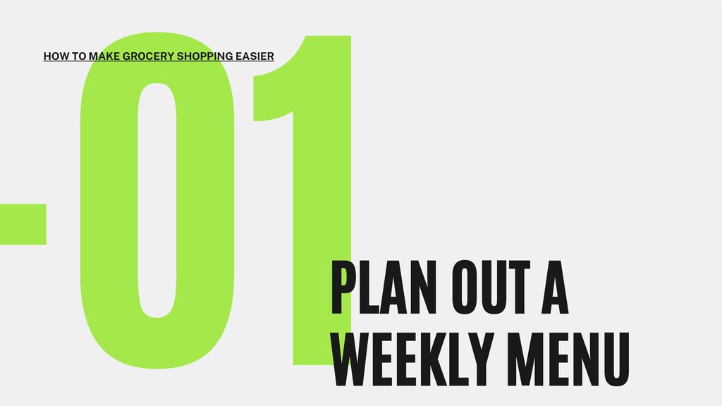 -01 PLAN OUT A WEEKLY MENU HOW TO MAKE GROCERY ...