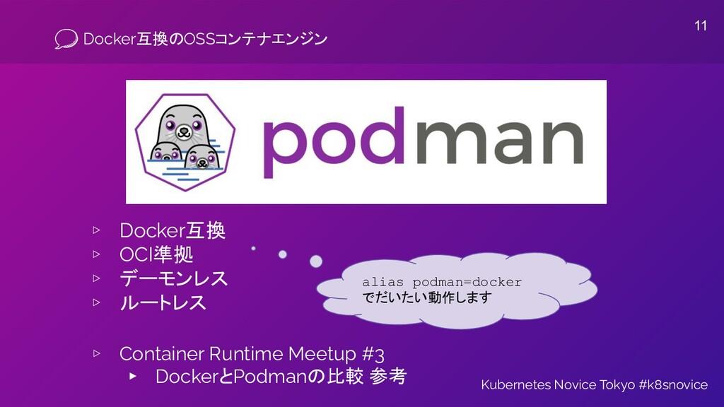Docker互換のOSSコンテナエンジン ▹ Docker互換 ▹ OCI準拠 ▹ デーモンレ...