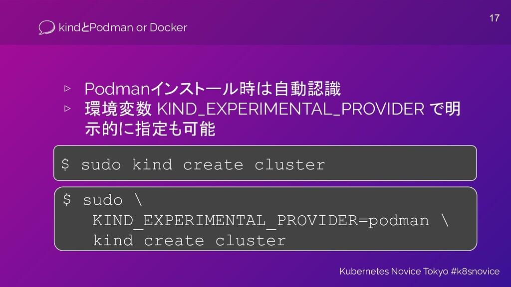 kindとPodman or Docker ▹ Podmanインストール時は自動認識 ▹ 環境...