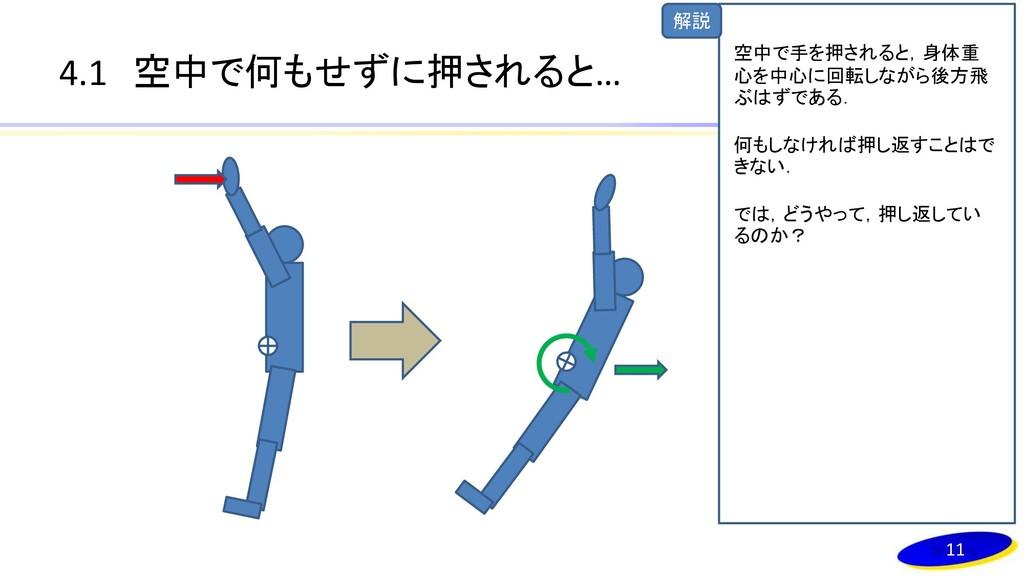 解説 4.1 空中で何もせずに押されると… 11 空中で手を押されると,身体重 心を中心に回転...
