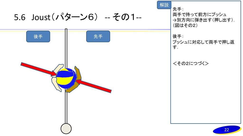 解説 5.6 Joust(パターン6) -- その1-- 22 先手 後手 先手: 両手で持っ...