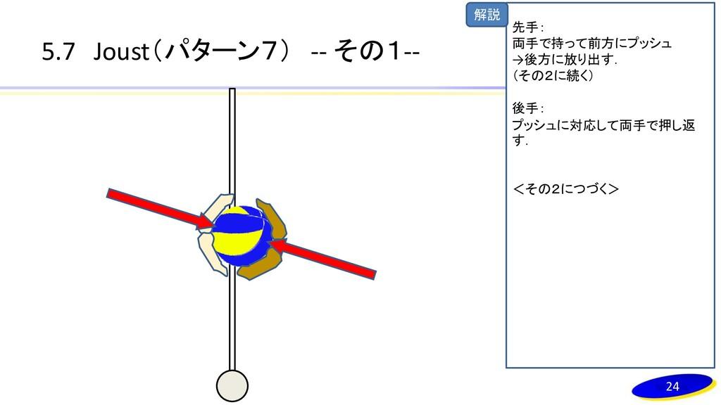 解説 5.7 Joust(パターン7) -- その1-- 24 先手: 両手で持って前方にプッ...