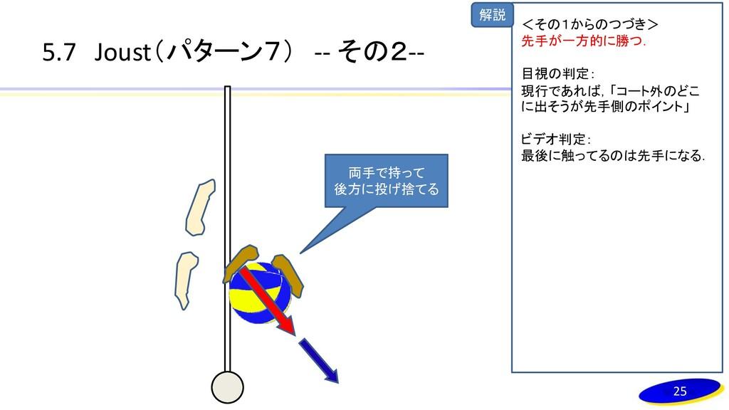 解説 5.7 Joust(パターン7) -- その2-- 両手で持って 後方に投げ捨てる 25...