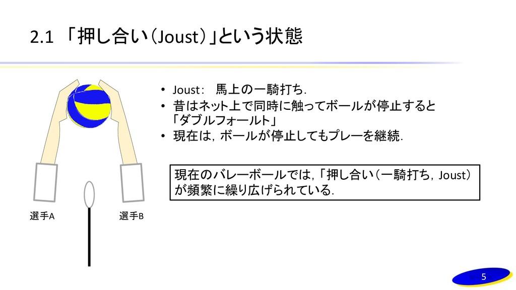2.1 「押し合い(Joust)」という状態 5 選手A 選手B • Joust: 馬上の一騎...