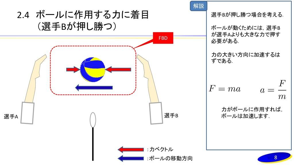 解説 2.4 ボールに作用する力に着目 (選手Bが押し勝つ) 選手A 選手B FBD 8 :力...