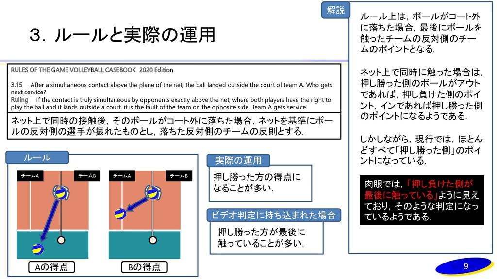 解説 3.ルールと実際の運用 9 RULES OF THE GAME VOLLEYBALL C...