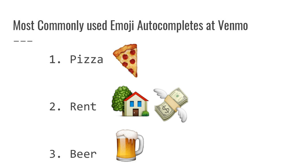 Most Commonly used Emoji Autocompletes at Venmo...