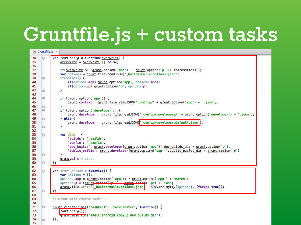 Gruntfile.js + custom tasks
