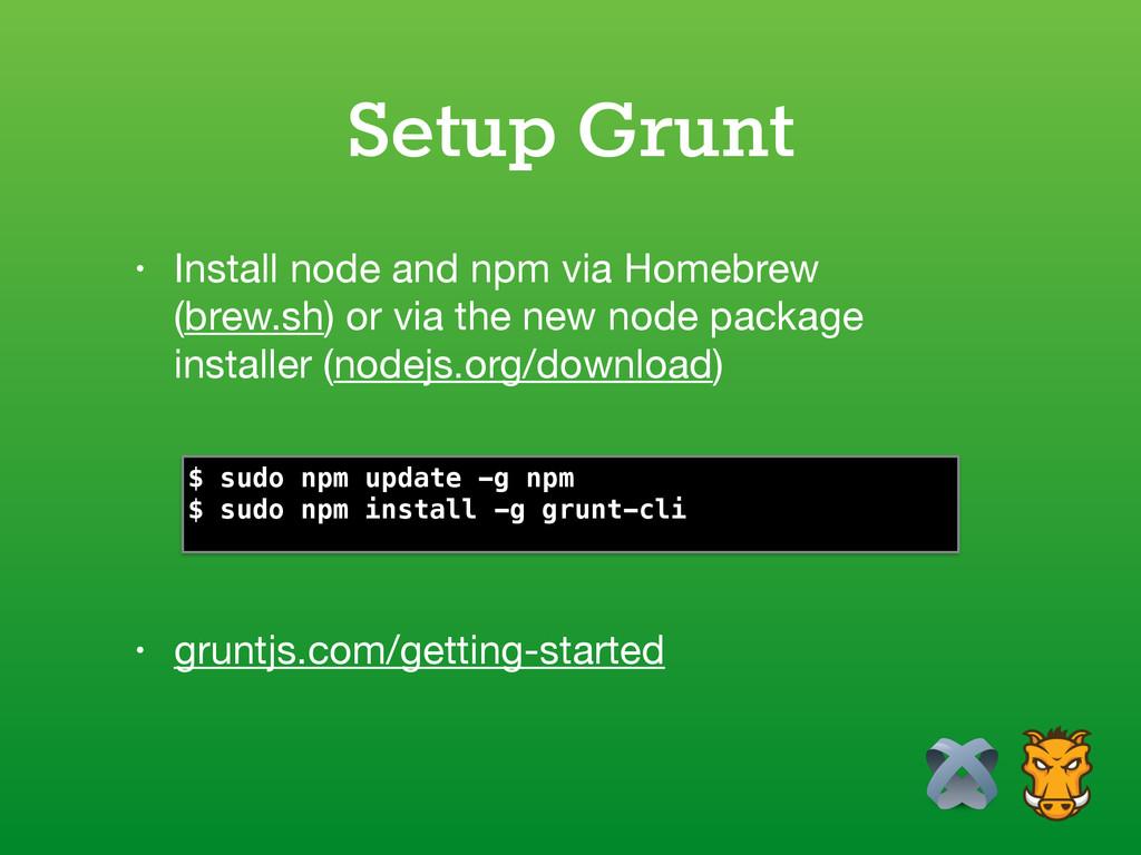 Setup Grunt • gruntjs.com/getting-started • Ins...