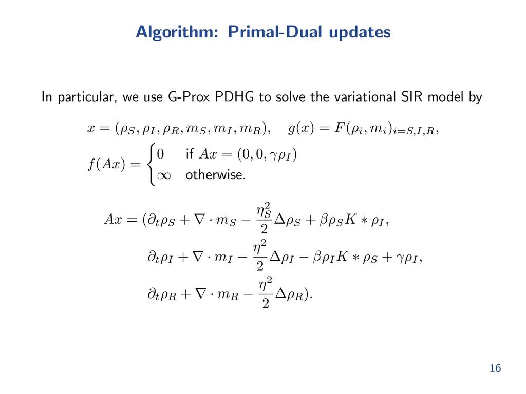 Algorithm: Primal-Dual updates In particular, w...