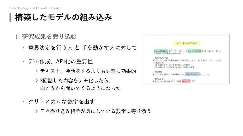 Data Strategy and Operation Center 構築したモデルの組み込み...