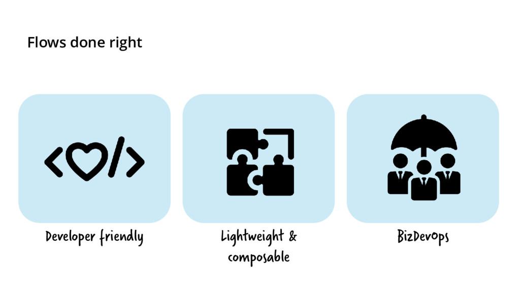 Flows done right Developer friendly Lightweight...