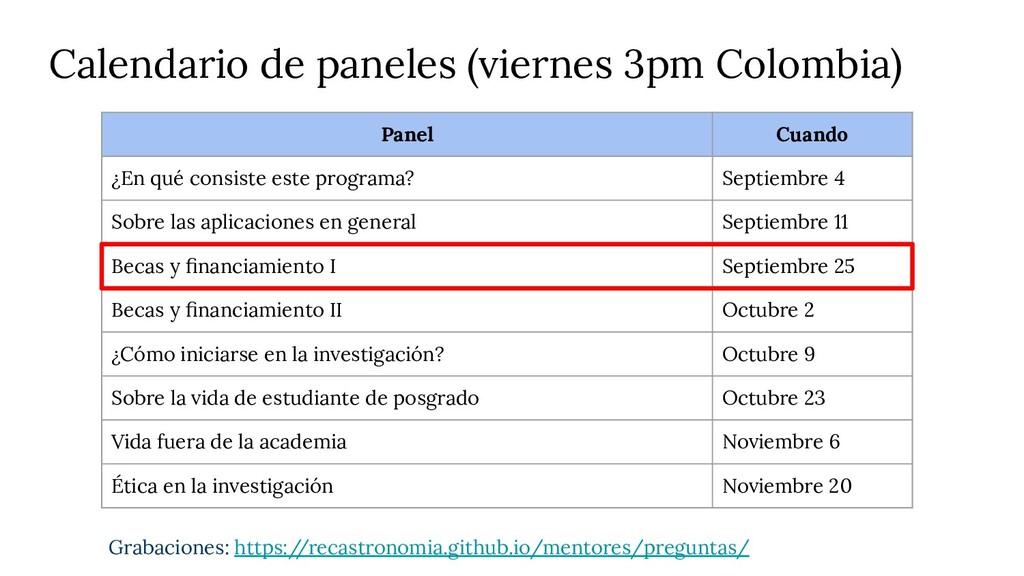 Calendario de paneles (viernes 3pm Colombia) Gr...