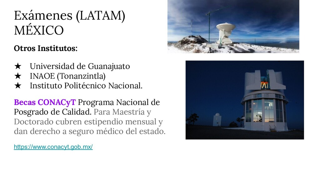 Exámenes (LATAM) MÉXICO Otros Institutos: ★ Uni...