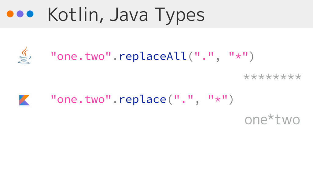 "Kotlin, Java Types ""one.two"".replaceAll(""."", ""*..."
