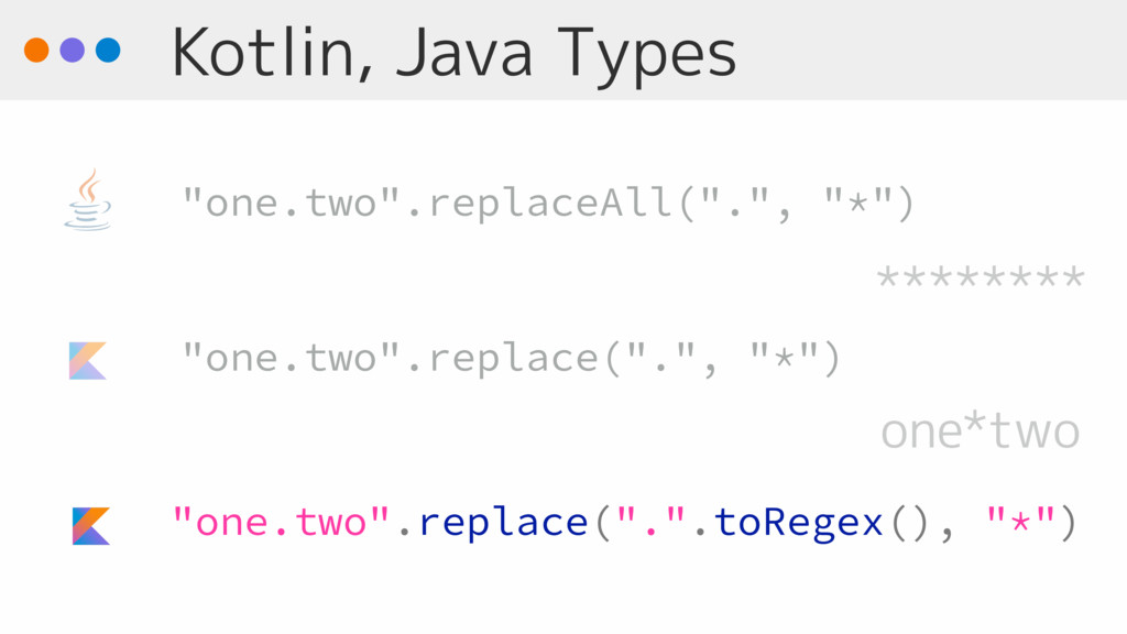 "Kotlin, Java Types ""one.two"".replace(""."".toRege..."