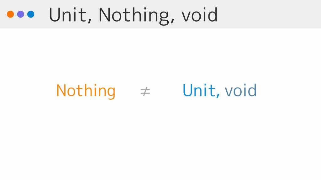 Unit, Nothing, void void Unit Nothing ≠ ,