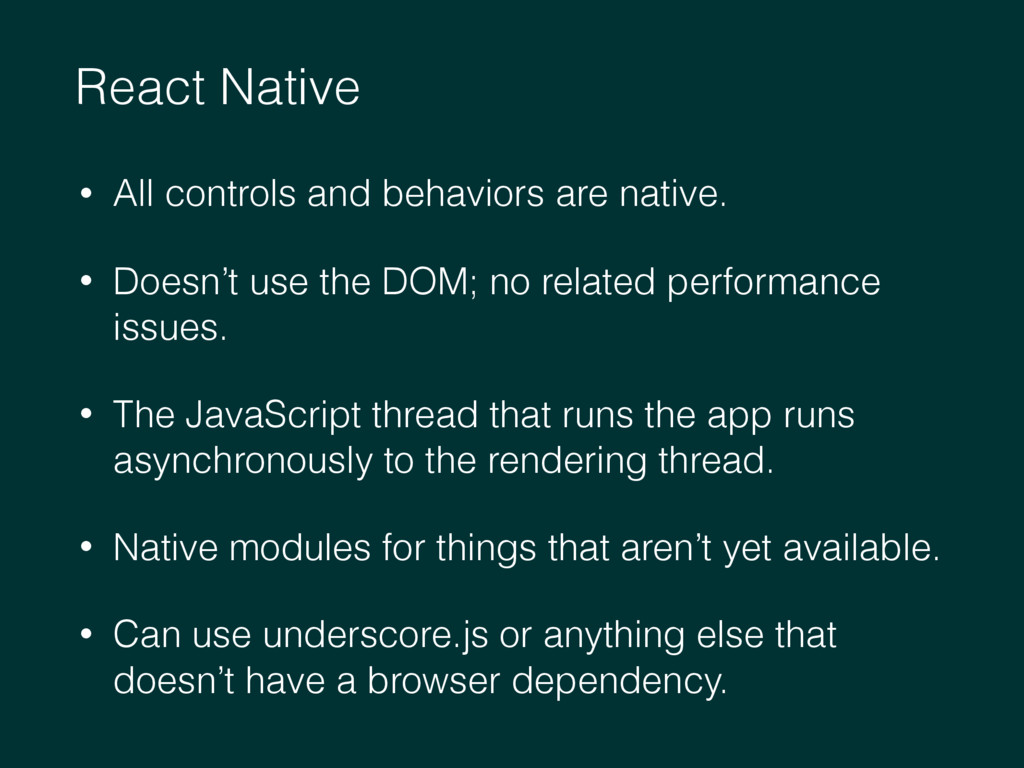 React Native • All controls and behaviors are n...