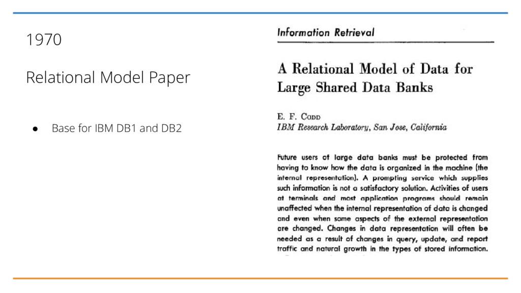 1970 Relational Model Paper ● Base for IBM DB1 ...