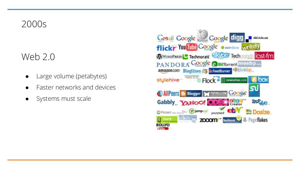 2000s Web 2.0 ● Large volume (petabytes) ● Fast...