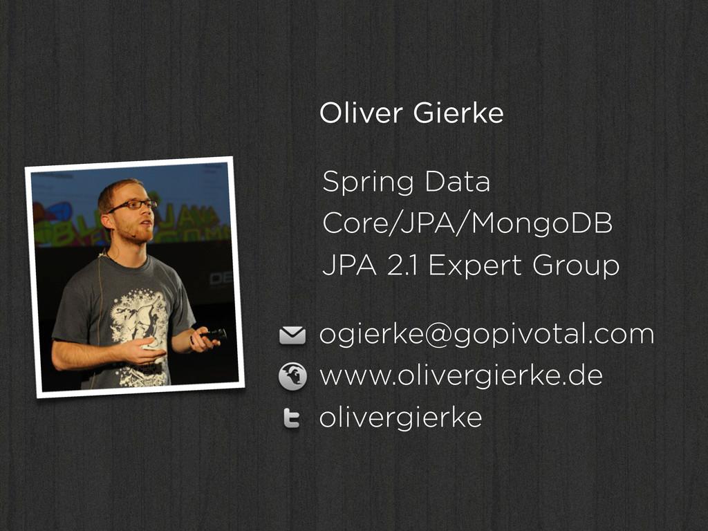 Oliver Gierke Spring Data Core/JPA/MongoDB JPA ...