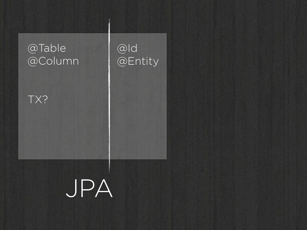 JPA @Id @Entity @Table @Column TX?