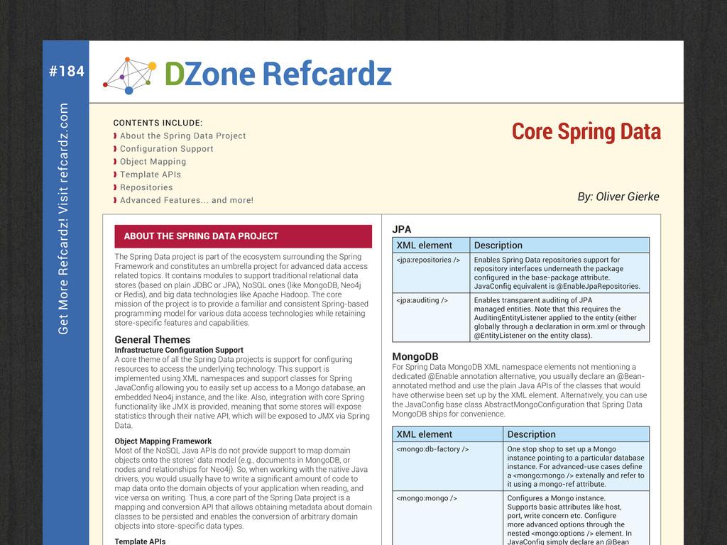 Get More Refcardz! Visit refcardz.com #184 By: ...
