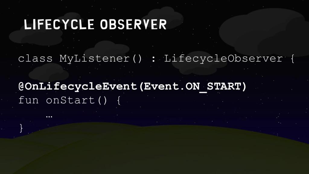LIFECYCLE OBSERVER class MyListener() : Lifecyc...