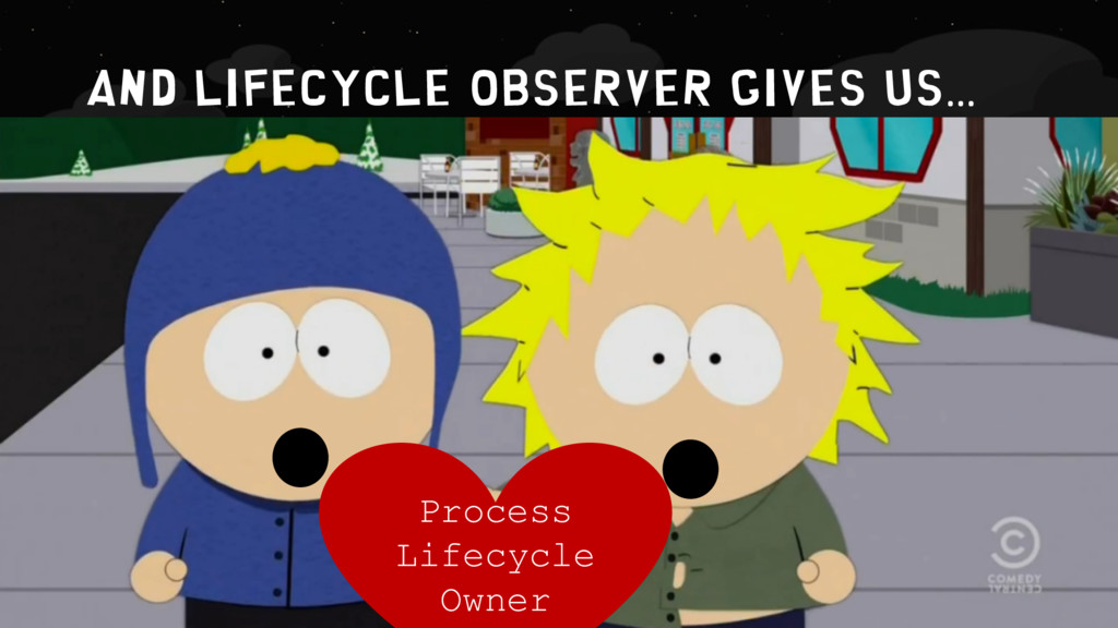 AND LIFECYCLE OBSERVER GIVEs US… Process Lifecy...