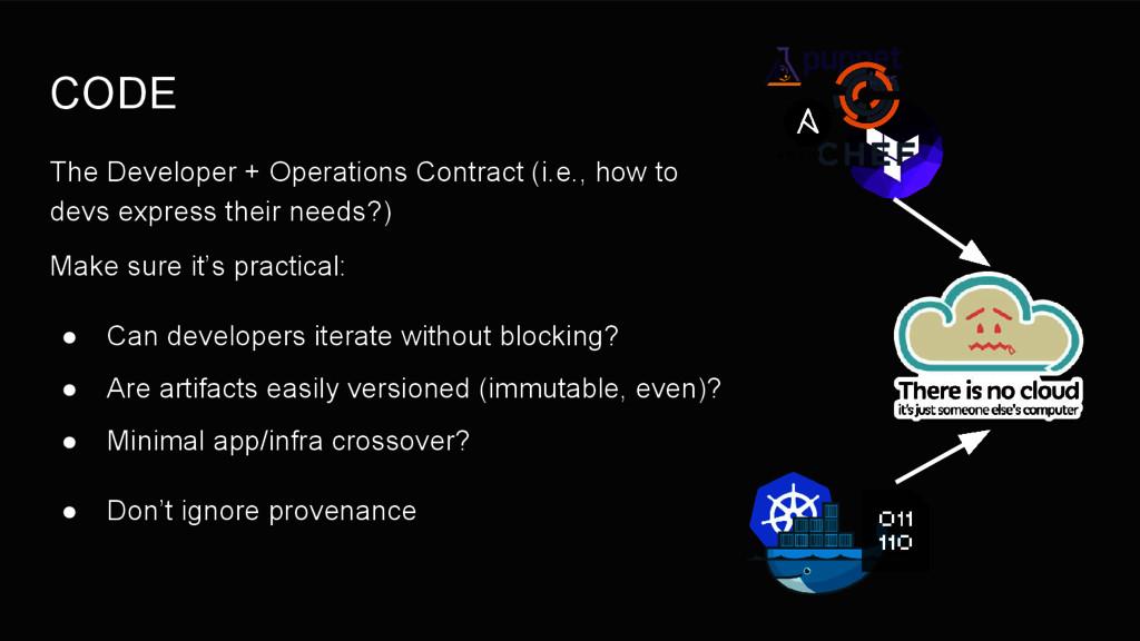 CODE The Developer + Operations Contract (i.e.,...