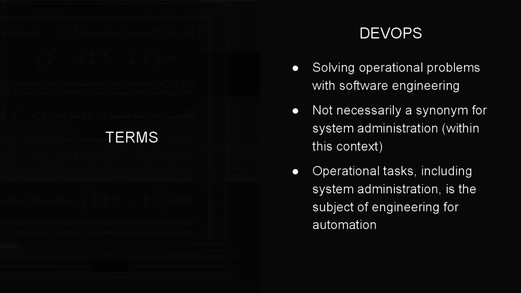 TERMS ● Solving operational problems with softw...