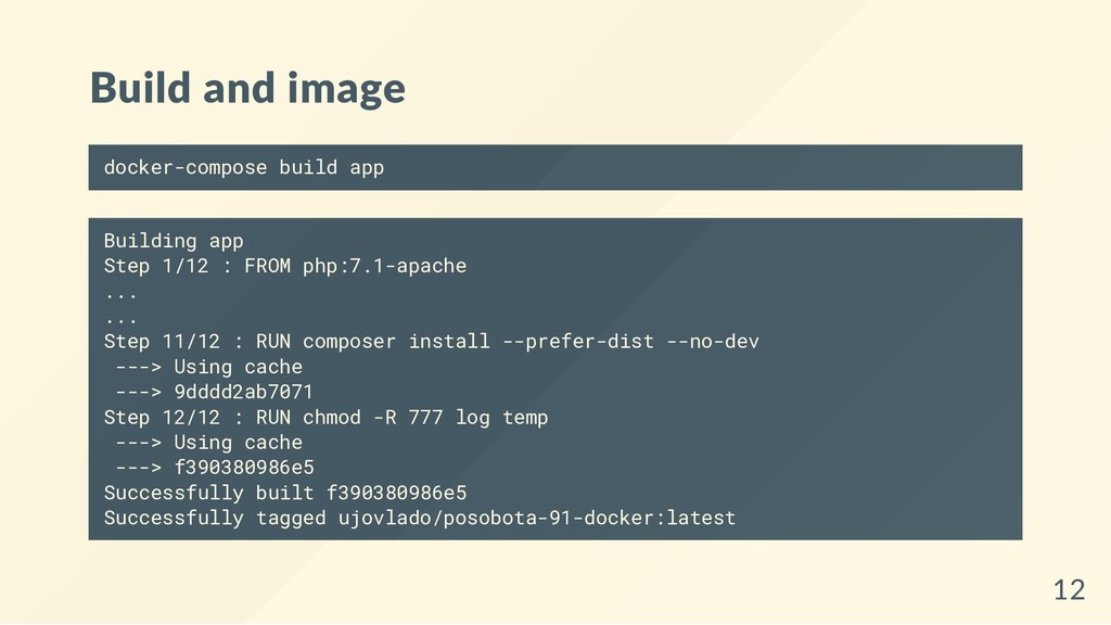 Build and image docker-compose build app Buildi...
