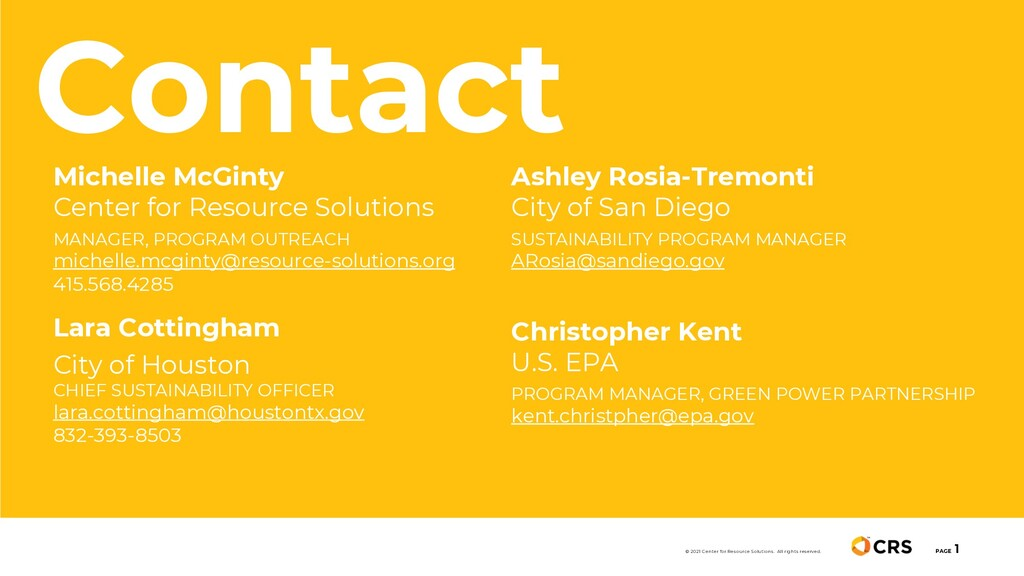 PAGE 1 © 2021 Center for Resource Solutions. Al...