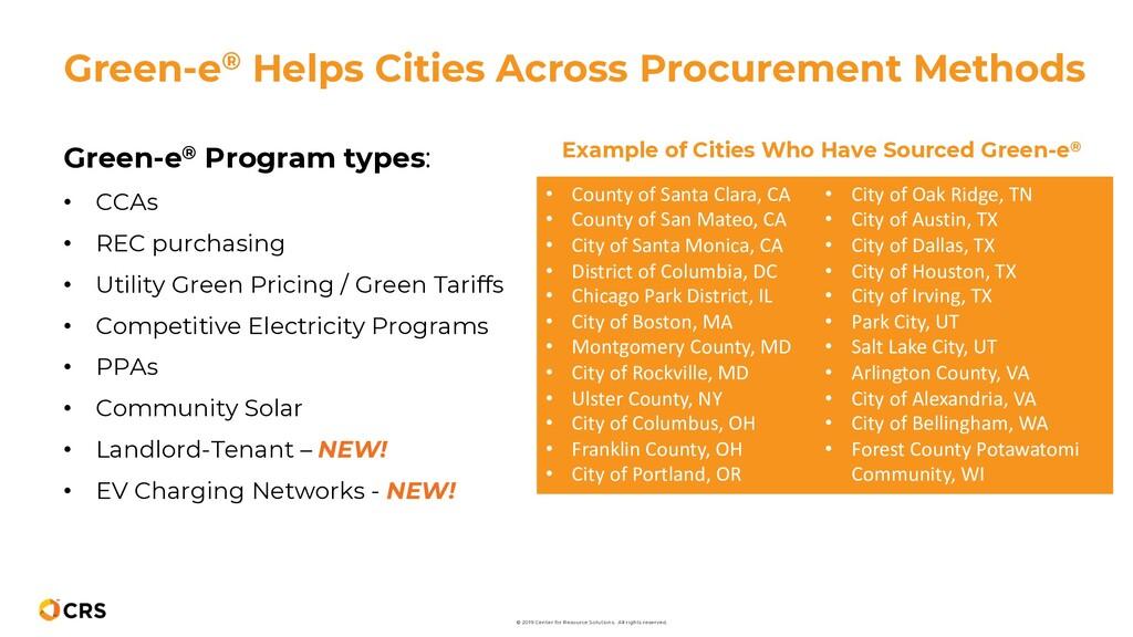Green-e® Program types: • CCAs • REC purchasing...