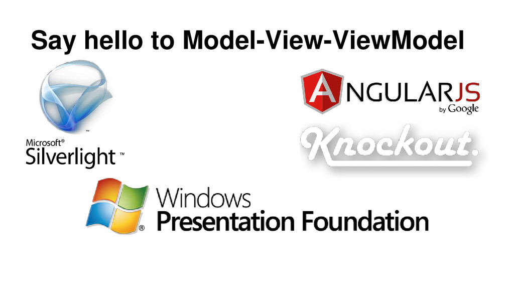 Say hello to Model-View-ViewModel