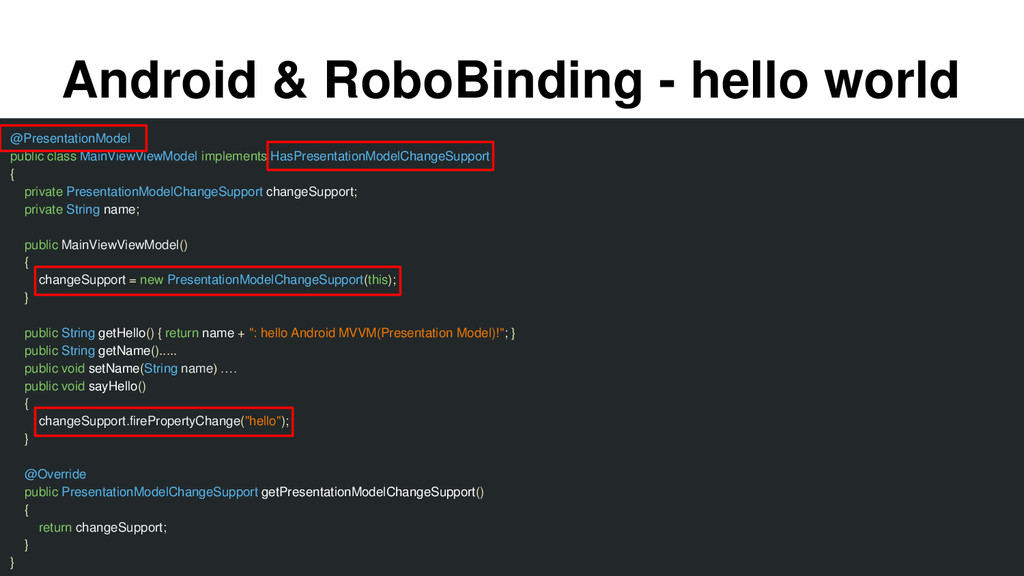 Android & RoboBinding - hello world @Presentati...