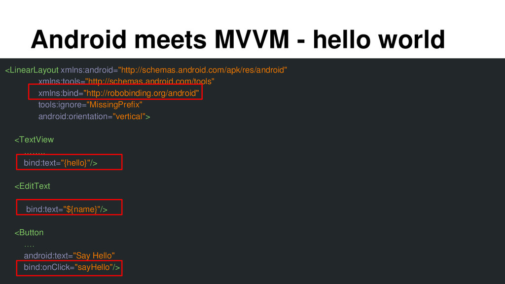 Android meets MVVM - hello world <LinearLayout ...