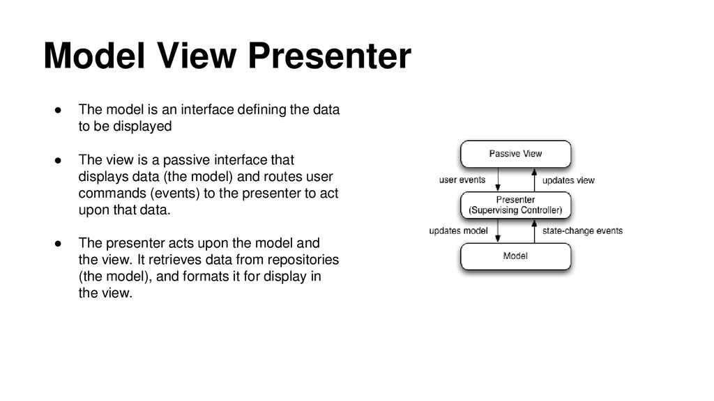 Model View Presenter ● The model is an interfac...