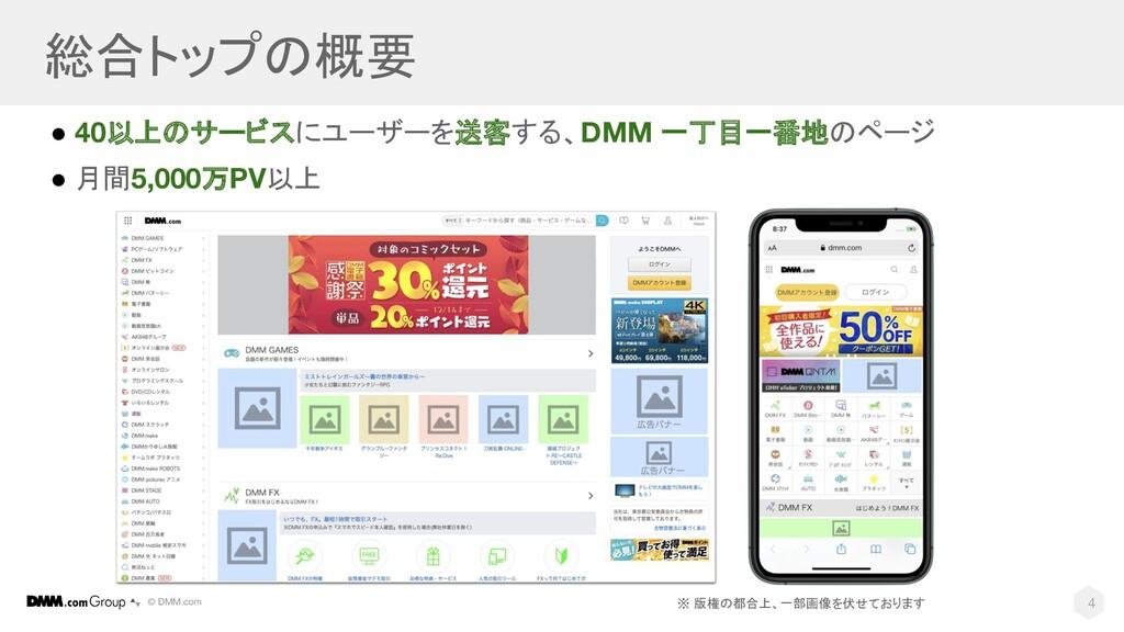 © DMM.com 総合トップの概要 4 ● 40以上のサービスにユーザーを送客する、DMM ...