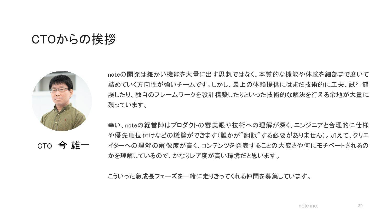 note inc. 仕事の進め方 ※社員アンケートより  29 CEOやCXOが技術について...