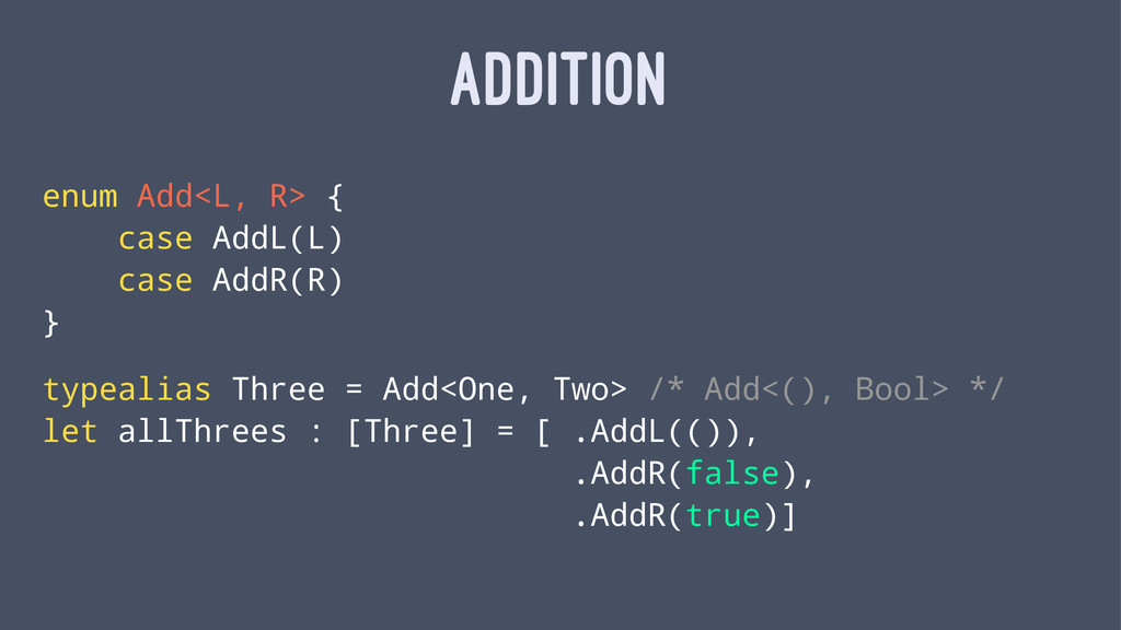 ADDITION enum Add<L, R> { case AddL(L) case Add...