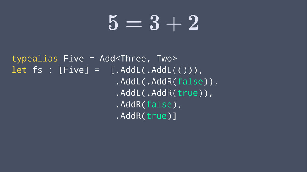 typealias Five = Add<Three, Two> let fs : [Five...