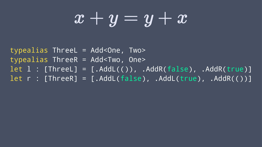 typealias ThreeL = Add<One, Two> typealias Thre...