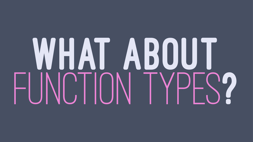 WHAT ABOUT FUNCTION TYPES?