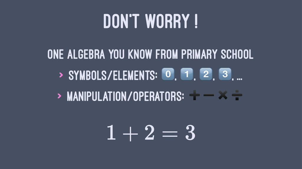 DON'T WORRY ! One algebra you know from primary...