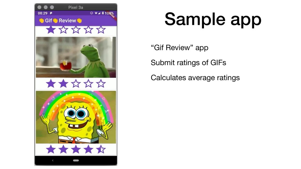"Sample app ""Gif Review"" app  Submit ratings of ..."