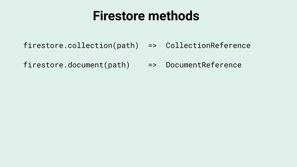 Firestore methods firestore.collection(path) =>...