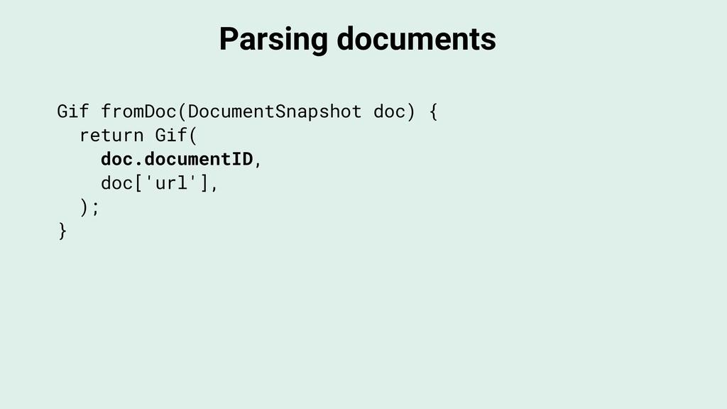 Parsing documents Gif fromDoc(DocumentSnapshot ...